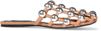 Alexander Wang - Amelia Studded Suede Slippers - Sand $595 thestylecure.com
