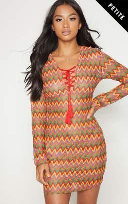 PrettyLittleThing Petite Multi Crochet Lace Up Mini Dress