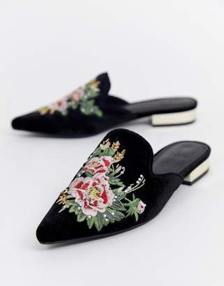 Asos Design DESIGN Maldives embroidered mules