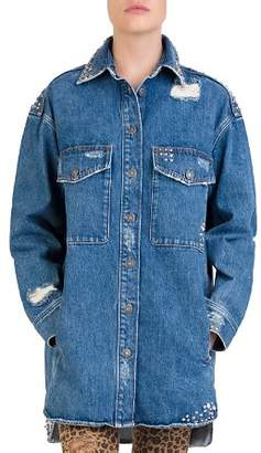 The Kooples Studded Distressed Denim Shirt
