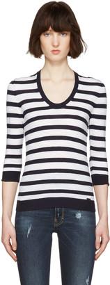 Dsquared2 White Striped Pullover $540 thestylecure.com