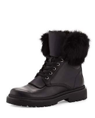 Moncler Patty Fur-Collar Hiker Boot, Black