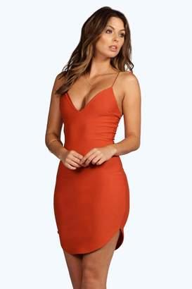 boohoo Curved Hem Strappy Bodycon Dress