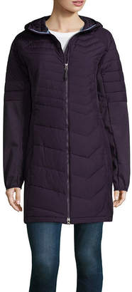 Columbia Oyanta Long Hybrid Quilted Hooded Water Resistant Midweight Puffer Jacket