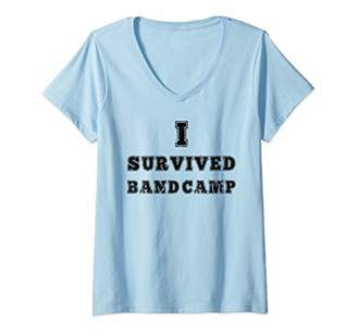 Womens I Survived Band Camp Marching Band Funny Shirt V-Neck T-Shirt