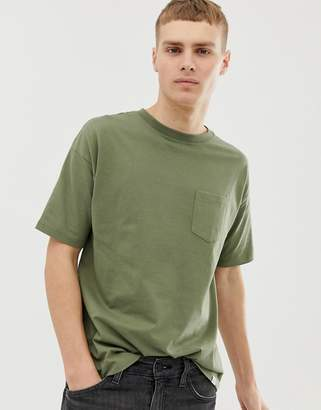 Pull&Bear Join Life Organic Cotton T-Shirt In Khaki With Pocket
