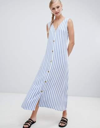 Monki Stripe Button Front Midi Dress