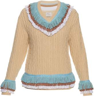 HILLIER BARTLEY Fringed cashmere and cotton-blend cricket sweater