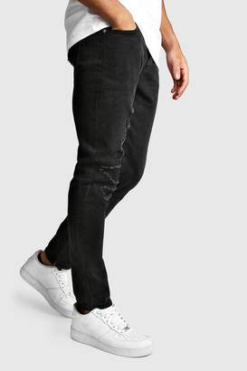 boohoo Worn Skinny Jean With Ankle Zips