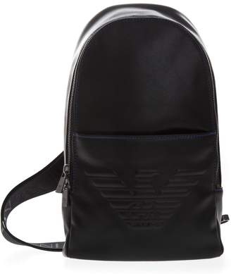 c1a506d9a3f6 Emporio Armani Black One Shoulder Eagle Backpack