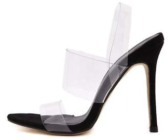 Chic Womens High Heel Barely There Clear Perspex Sandals Strappy Stiletto