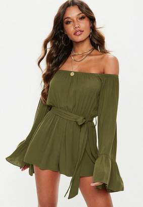 Missguided Tall Khaki Flare Sleeve Bardot Romper