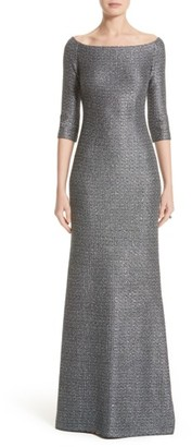 Women's St. John Collection Sequin Knit Off The Shoulder Gown $1,595 thestylecure.com