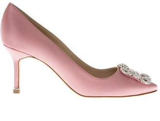 Manolo Blahnik Lanza Coral Pink Satin Pumps