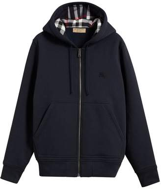 Check Detail Jersey Hooded Top