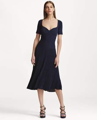 Ralph Lauren Back-Cutout Pleated Dress