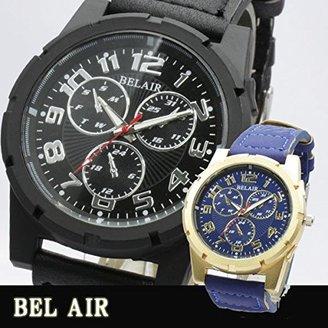 Bel Air [ベルエア 腕時計 XX6 (ゴールドxブルー) 放射線状に広がるストライプ文字盤にスポーティなフォントのインデックス