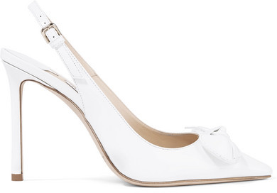 Jimmy Choo - Blare 100 Bow-embellished Patent-leather Slingback Pumps - White