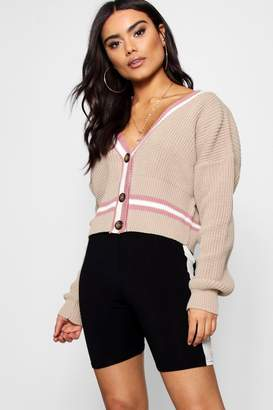 boohoo V-Neck Button Up Plunge Tipped Crop Cardigan