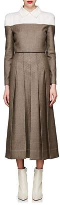 Fendi Women's Pleated Wool-Blend Tweed Dress