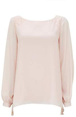 Wallis Blush Shimmer Lace Blouse