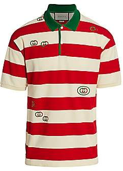 38d01eb75b6 Gucci Men s Embroidered Striped Jersey Polo