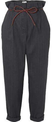 Brunello Cucinelli Oversized Leather-trimmed Herringbone Cotton-blend Cropped Pants
