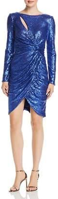 Tadashi Shoji Draped Twist-Front Sequin Dress