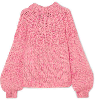 Ganni Julliard Bow-embellished Mohair And Wool-blend Sweater - Pink