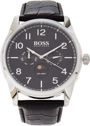 HUGO BOSS 1513467 Heritage Silver-Tone & Black Croc-Embossed Watch