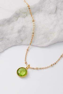 Mirabelle August Birthstone Pendant Gold-Plated Necklace - gold at Urban Outfitters