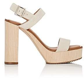 Calvin Klein WOMEN'S FAUNA BIS SUEDE PLATFORM SANDALS - CREAM SIZE 10