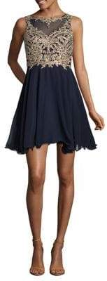 Xscape Evenings Embroidered Mesh Fit-&-Flare Dress