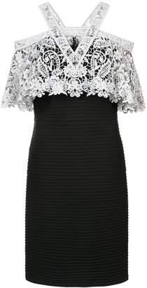 Tadashi Shoji crochet top layered dress