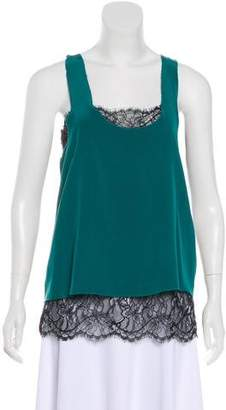 Madison Marcus Lace-Trimmed Silk Top