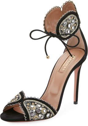 Aquazzura Jaipur Beaded Ankle-Tie Sandal