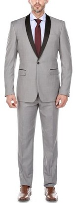 Verno Men's Light Grey Shawl Collar Tuxedo Slim Fit Suit