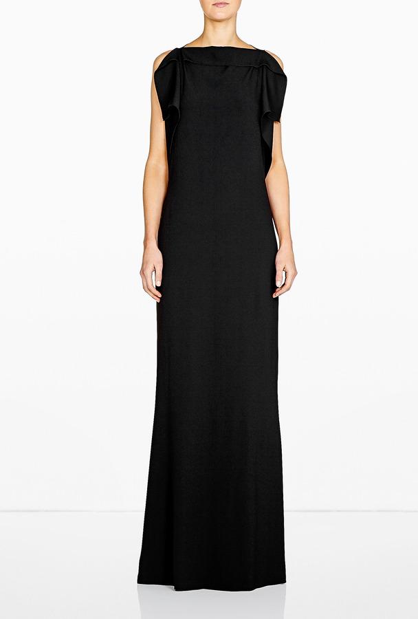 Philosophy di Alberta Ferretti Frill Crepe Column Dress
