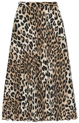 Banana Republic Leopard Print Pleated Midi Skirt