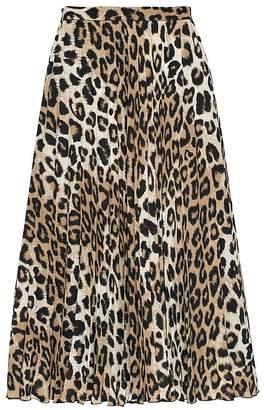 7270c25ba Banana Republic Leopard Print Pleated Midi Skirt