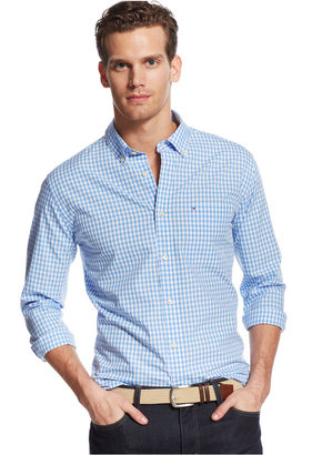Tommy Hilfiger Men's Long-Sleeve Twain Check Classic Fit Shirt $59.50 thestylecure.com