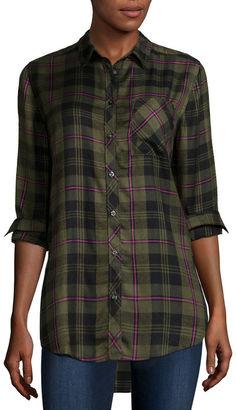 ARIZONA Arizona Long-Sleeve Boyfriend Plaid Shirt - Juniors $22.99 thestylecure.com