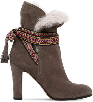 Etro 95mm Suede & Shearling Ankle Boots
