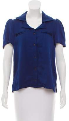 Tanya Taylor Short Sleeve Button-Up Top