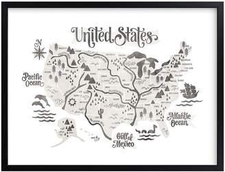 Pottery Barn Kids Pirate Map Wall Art by Minted®, Black, 20X16