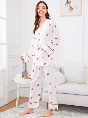 Shein Strawberry Print Wrap Pajama Set With Eye Mask