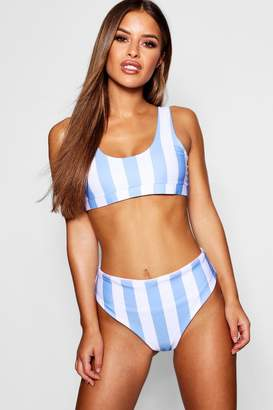 boohoo Petite Stripe Square Neck Bikini