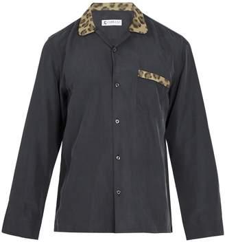 COBRA S.C. Contrast leopard-jacquard panelled silk shirt