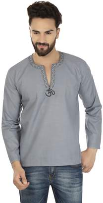 Off-White Maple Clothing Embroidered Cotton Mens Short Kurta Dress Shirt Indian Clothing (Grey, L)