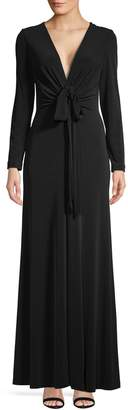 Calvin Klein V-Neck Long Sleeve Drape Gown